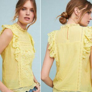 Anthro (Maeve) Yellow Lace Blouse